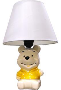 Abajur Infantil Urso Pooh 31Cm Base Cerâmica E 27 Max 40W Unissex