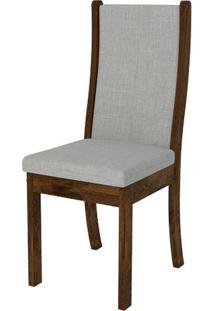 Cadeira Malta 2 Peças - Rústico Malbec Com Linho Claro