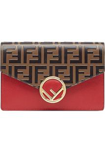 Fendi Medium Wallet On Chain - Marrom