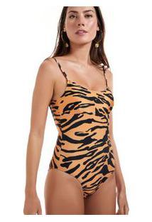 Maiô Recorte Estampado Tigre Est Tigre Textura Bege/Preto