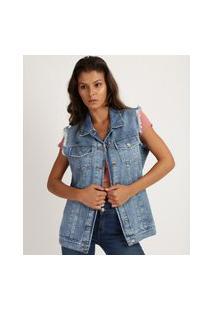 Colete Jeans Feminino Longo Marmorizado Com Bolsos E Tachas Cava Desfiada Azul Médio
