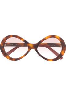 Chloé Eyewear Óculos De Sol Com Efeito Tartaruga - Marrom
