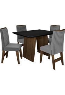 Conjunto De Mesa Para Sala De Jantar Com 4 Cadeiras Vigo -Dobuê Movelaria - Castanho / Preto / Grafite Bord