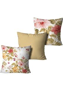 Kit 3 Capas Para Almofadas Decorativas Love Decor Flowers Multicolorido Bege