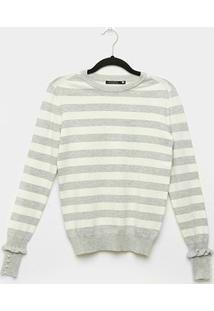 Suéter Tricot Miose Listrado Botões Babado Feminino - Feminino-Off White