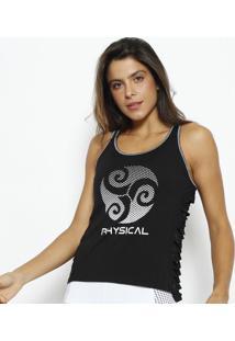 Regata Nadador Com Recortes Vazados - Preta & Brancaphysical Fitness