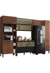 Cozinha Modulada Compacta 6 Peças Viv Concept C04 Nogueira/Black - Kit
