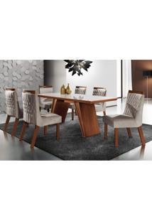 Conjunto Sala De Jantar Mesa Tampo Mdf E 6 Cadeiras Atlanta Tik Plus Siena Móveis Castanho Premio/Pena Bege Off White