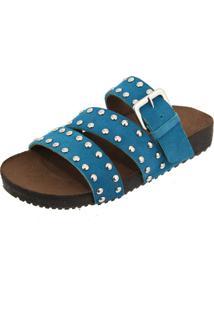 Sandália Birken Em Couro Ravy Store Tachas Azul