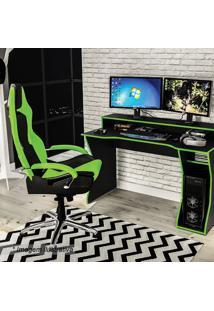 Mesa Gamer Fremont - Preta & Verde - 87,5X130X59Cm