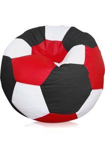 Puff Bola Futebol Cheio - Preto Branco E Vermelho - Atelier Sopuffs