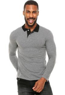 Camisa Polo Malwee Textura Cinza