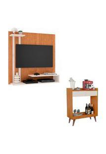 Kit Painel Para Tv Smart Plus Nature Com Off E Aparador Retrô Com 2 Gavetas Loretto Nature Com Off