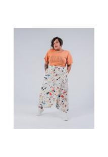 Calça Pantacourt Almaria Plus Size Miss Taylor Estampada Off-White
