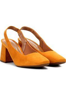 Scarpin Vizzano Salto Médio Bico Quadrado Elástico - Feminino-Amarelo