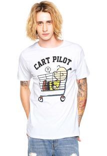 Camiseta Snoopy Cart Pilot Branca