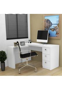 Mesa Em L Para Escritório Com 3 Gavetas Me4101 Tecno Mobili Branco