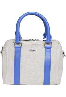 Bolsa Com Linho & Recortes- Bege & Azul- 33X24X15Cm