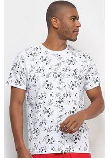 Camiseta Aleatory Folhagem Masculina - Masculino-Branco