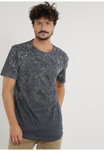 Camiseta Masculina Longa Com Respingos Manga Curta Gola Careca Cinza Mescla Escuro