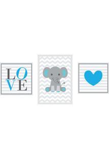 Conjunto Com 3 Quadros Decorativos Love Blue Ii Azul E Cinza