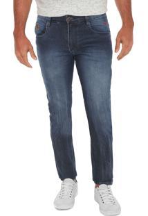 Calça Jeans Gangster Slim Estonada Azul