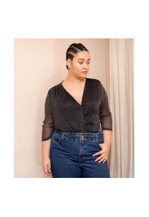 Body Em Tule Com Brilhos Curve & Plus Size   Ashua Curve E Plus Size   Preto   Eg