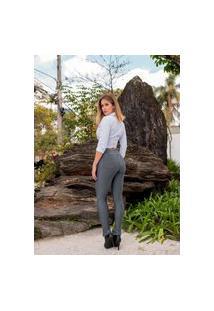 Calça Feminina Cintura Alta Montaria Com Zíperes Premium - Prada Em Poliamida - Cor Chumbo Grafite