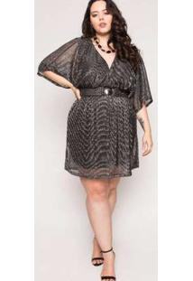 Vestido Almaria Plus Size Lady More Tule Lurex Preto Preto
