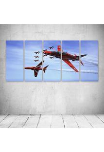 Quadro Decorativo - Bae Hawk T Mk1 Red Arrows Jet Team - Composto De 5 Quadros - Multicolorido - Dafiti