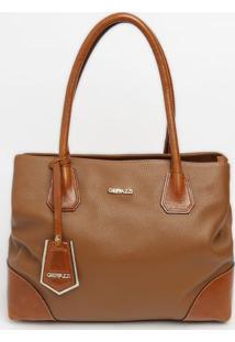 Bolsa Em Couro Com Bag Charm & Recortes- Marrom Claro