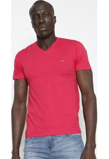 Camiseta Slim Fit Lisa Com Bordado - Pink- M. Officem. Officer