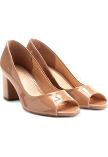Peep Toe Shoestock Salto Grosso Verniz - Feminino