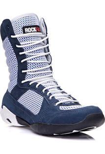 Bota De Treino Masculina Rockfit Jump Em Couro Azul E Branco