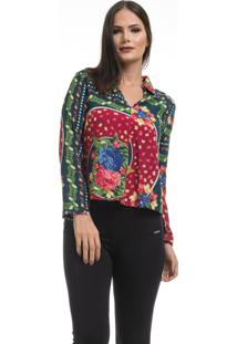 Camisa Clara Arruda Viscose Decote V 12044 Floral