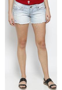 Short Jeans Com Destroyed- Azul Claro- Eixoeixo