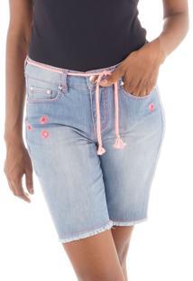 Bermuda Jeans Com Ilhós E Cordão Neon Pink
