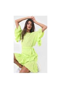 Vestido Colcci Curto Bordado Verde