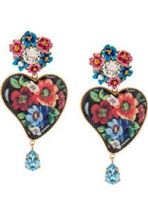 Dolce & Gabbana Par De Brincos Florais - Preto