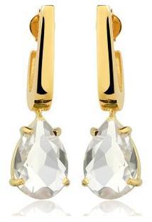 Brinco Toque De Joia Mini Anzol Quartzo Cristal - Feminino-Dourado