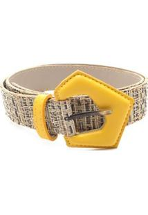 Cinto Birô Detalhe Textura Feminino - Feminino-Amarelo