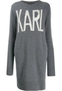 Karl Lagerfeld Suéter Longo 'Karl Oui' - Cinza