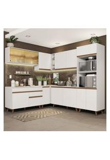 Cozinha Completa De Canto Madesa Reims 452001 Com Armário E Balcáo - Branco Branco