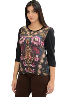 Blusa Energia Fashion Flores Astrais Preto