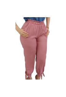 Calça Skinny Elástico E Laço Barra Rosa