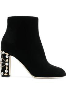 Dolce & Gabbana Ankle Boot De Seda, Veludo E Couro - Preto