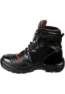 Bota Couro Bell-Boots Motoqueira Recortes Black