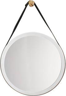 Espelho Decorativo Com Alça 40X40Cm Branco E Preto