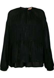 Nº21 Lightly Pleated Sheer Blouse - Preto