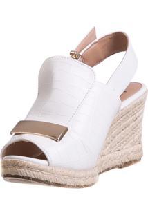 Anabela Butique De Sapatos Croco Branca Com Placa Dourada